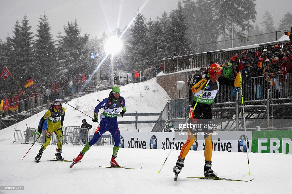Anrd Pfeiffer of Germany is chased by Jakov Fak of Slovenia and Mateij Kazar of Slovakia during the IBU World Cup Biathlon Oberhof Men's Sprint Race...