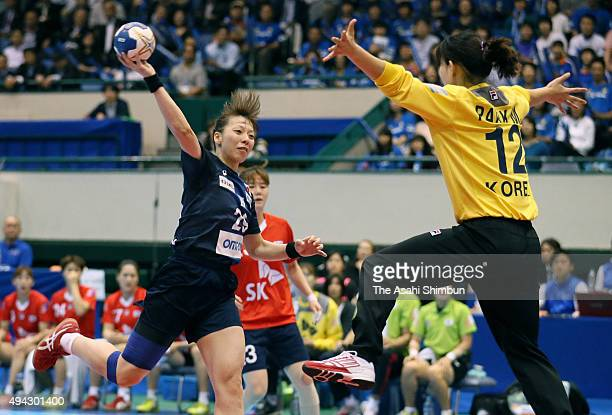 Anri Matsumura of Japan scores a goal during the handball Asian Women's Qualification match between South Korea and Japan at Aichi Prefectural...
