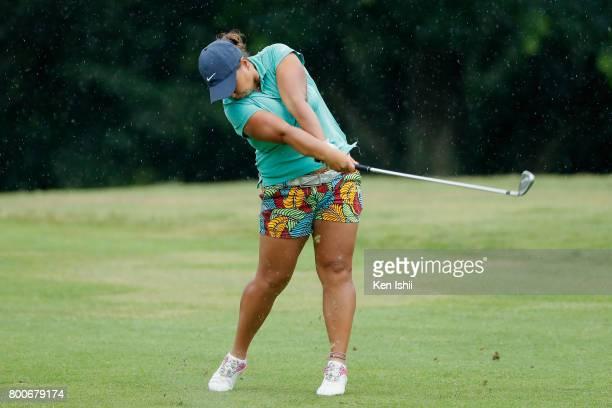 Ansa Sano of Japan hits a second shot on the 18th hole during the final round of the Yupiteru The Shizuoka Shimbun SBS Ladies at the Shizuoka Country...