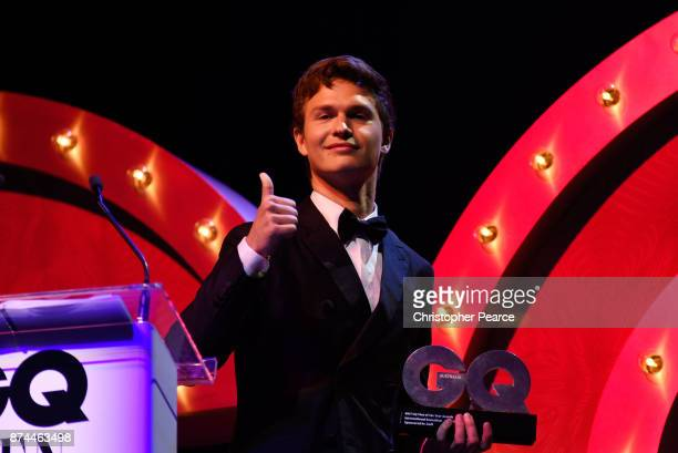 Ansel Elgort accepts the International Sensation award during the GQ Men Of The Year Awards Ceremony at The Star on November 15 2017 in Sydney...