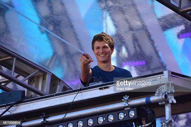 Ansel Elgort aka DJ Ansolo performs during Day 2 of Electric Zoo at Randall's Island on September 5 2015 in New York City