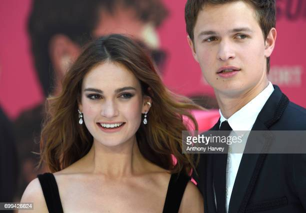 Ansel Elgort and Lily James attend the European premiere of 'Baby Driver' on June 21 2017 in London United Kingdom