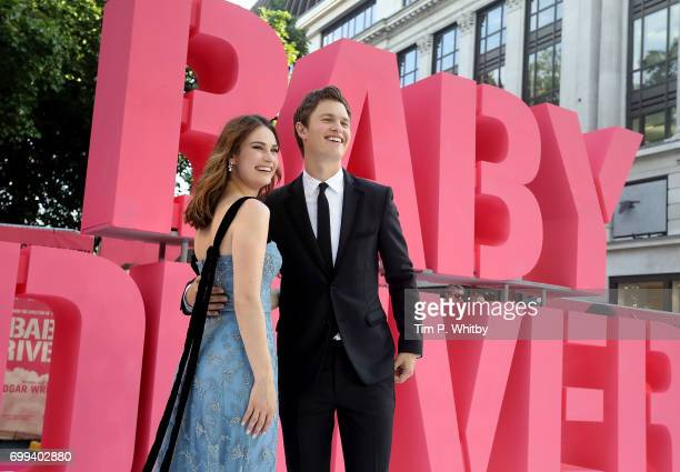 Ansel Elgort and Lily James attend the European Premiere of Sony Pictures 'Baby Driver' on June 21 2017 in London England
