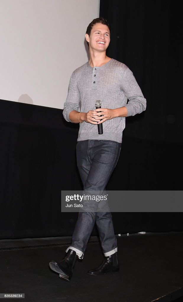Ansel Elgort attends the 'Baby Driver' Stage Greeting at Shinjuku Wald9 on August 19, 2017 in Tokyo, Japan.
