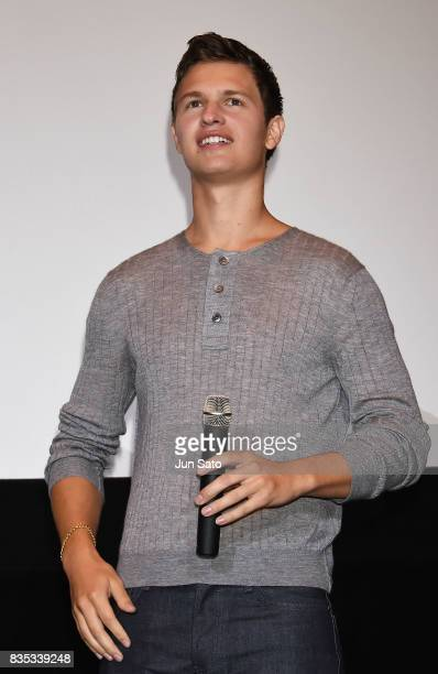 Ansel Elgort attends the 'Baby Driver' Stage Greeting at Shinjuku Wald9 on August 19 2017 in Tokyo Japan