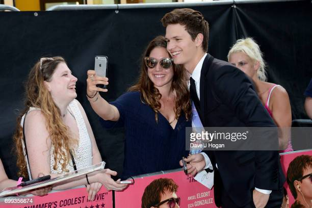 Ansel Elgort attends the European Premiere of 'Baby Driver' at Cineworld Leicester Square on June 21 2017 in London England