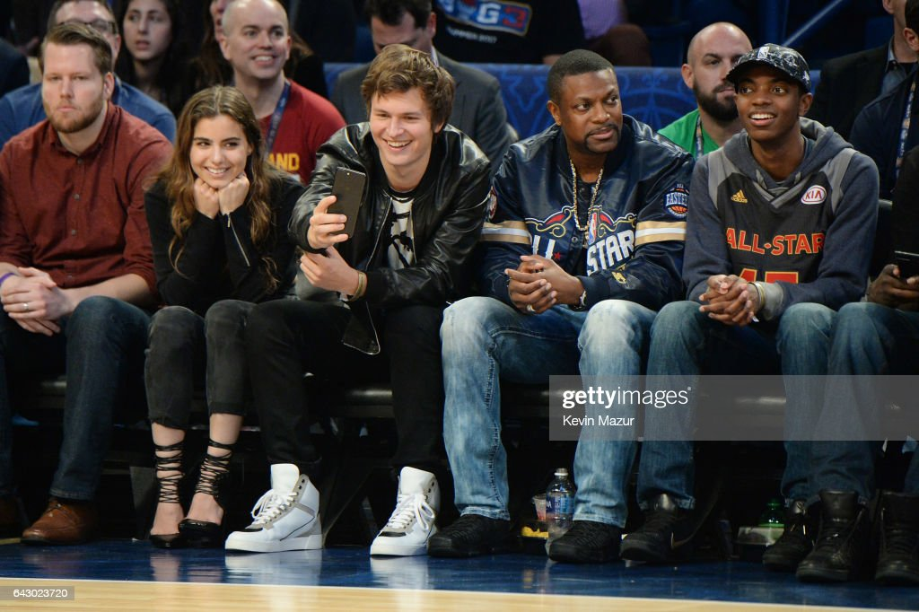 Ansel Elgort, Chris Tucker and Destin Tucker attend the 66th NBA All-Star Game at Smoothie King Center on February 19, 2017 in New Orleans, Louisiana.
