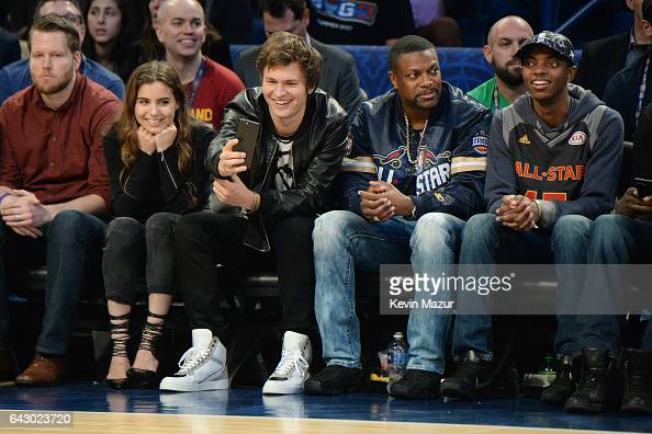 Ansel Elgort Chris Tucker and Destin Tucker attend the 66th NBA AllStar Game at Smoothie King Center on February 19 2017 in New Orleans Louisiana