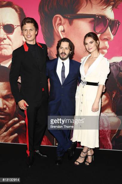 Ansel Elgort Edgar Wright and Lily James arrives ahead of the Baby Driver Australian Premiere at Event Cinemas George Street on July 12 2017 in...