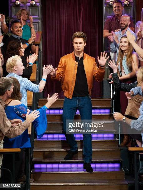 Ansel Elgort greets the audience during 'The Late Late Show with James Corden' Thursday June 15 2017 On The CBS Television Network