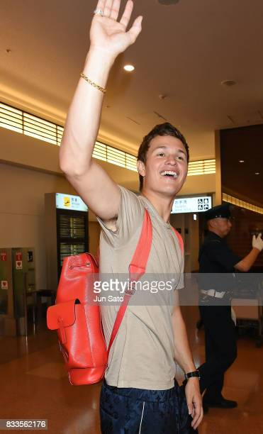 Ansel Elgort is seen upon arrival at Haneda Airport on August 17 2017 in Tokyo Japan