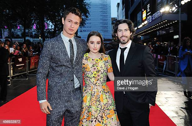 Ansel Elgort Kaitlyn Dever and Director Jason Reitman attend the European Premiere of Paramount Pictures 'Men Women Children' at Odeon Covent Garden...