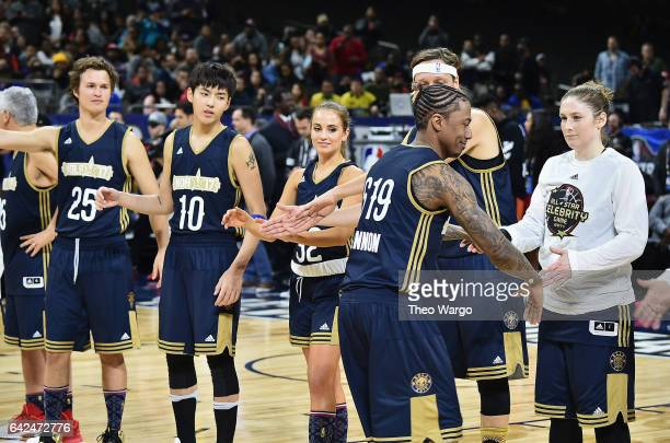 Ansel Elgort Kris Wu Rachel DeMita Nick Cannon and Lindsay Whalen attend the 2017 NBA AllStar Celebrity Game at MercedesBenz Superdome on February 17...