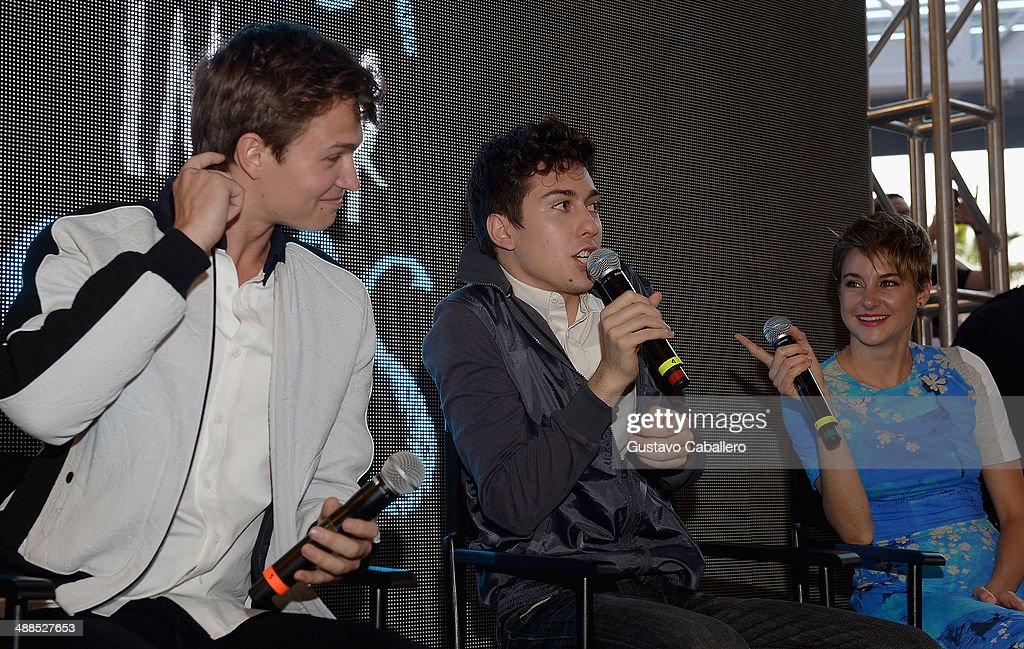 Ansel Elgort, Nat Wolff and Shailene Woodley attend the The Fault In Our Stars Miami Fan Event at Dolphin Mall on May 6, 2014 in Miami, Florida.