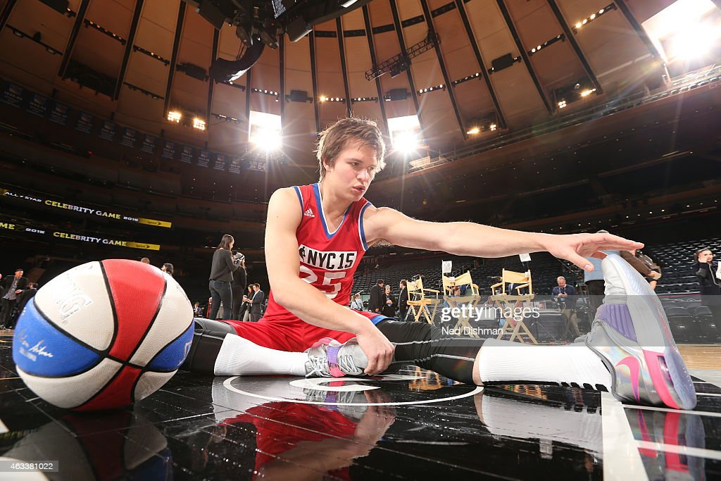 Ansel Elgort of the West Team stretches before the Sprint NBA All-Star Celebrity Game as part of 2015 All-Star Weekend at Madison Square Garden on February 13, 2015 in New York, New York.