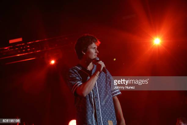 Ansel Elgort performs at Barclays Center on August 8 2017 in New York City