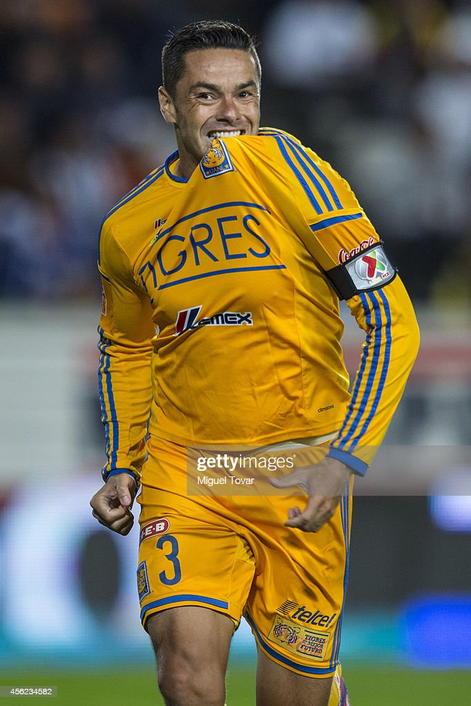 Anselmo Junior of Tigres celebrates after scoring the goal of the victory during a match between Pachuca v Tigres UANL as part of 10th round Apertura...