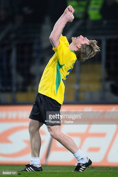 Ansgar Brinkmann celebrates during the Ansgar Brinkmann Farewell Match at the Schueco Arena on March 27 2009 in Bielefeld Germany