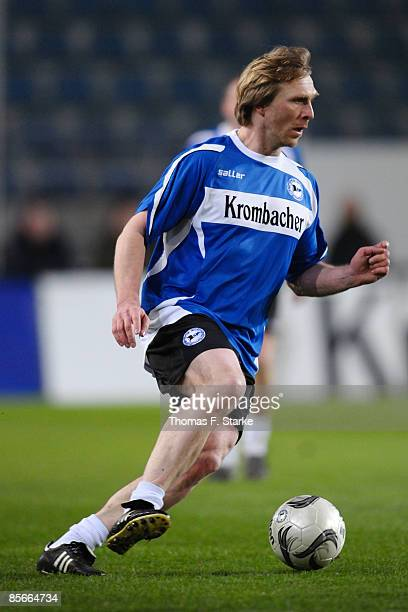 Ansgar Brinkmann runs with the ball during the Ansgar Brinkmann Farewell Match at the Schueco Arena on March 27 2009 in Bielefeld Germany