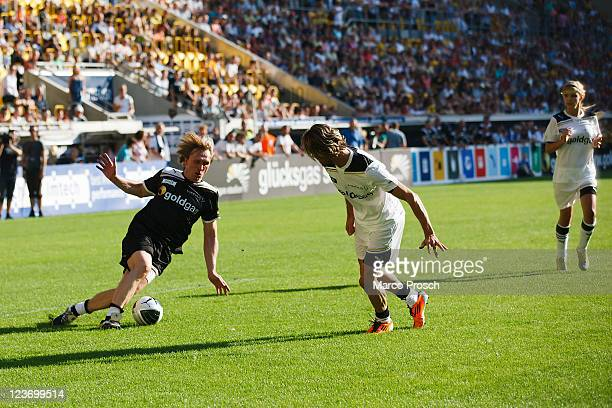 Ansgar Brinkmann Sven Hannawald Stella Kerkhof in action during the Laureus Benefit Soccer Match for the 'Sport For Good Foundation' at the...
