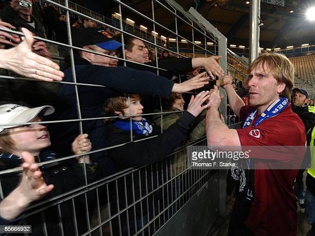 Ansgar Brinkmann thanks the fans after the Ansgar Brinkmann Farewell Match at the Schueco Arena on March 27 2009 in Bielefeld Germany