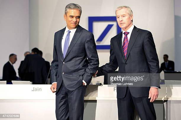 Anshu Jain and Juergen Fitschen coCEO of the Deutsche Bank pose for photographers for the beginning of the company's annual shareholder meeting on...