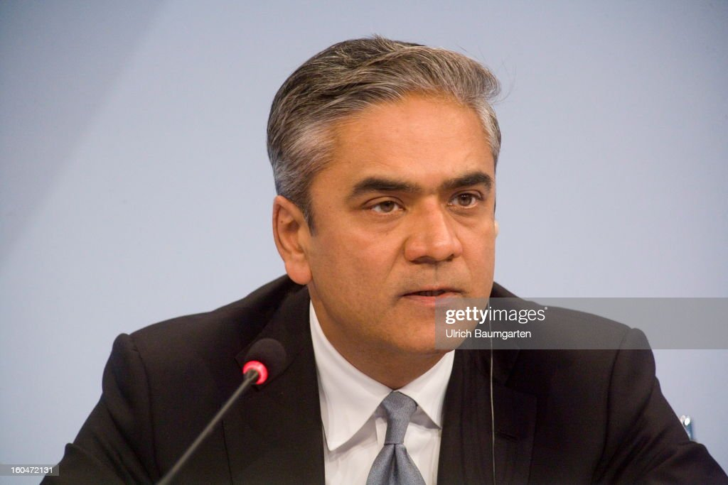 Anshu Jain, Co-CEO of Deutsche Bank, during the company's annual press conference to announce its financial results for 2012 on January 31, 2013 in Frankfurt am Main, Germany. Deutsche Bank announced a fourth quarter, pre-tax loss of EUR 2.6 billion, largely due to restructuring and litigation costs.