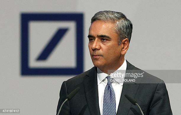 Anshu Jain coCEO of the Deutsche Bank addresses the annual shareholder meeting in Frankfurt/Main Germany on May 21 2015 Deutsche Bank has launched an...