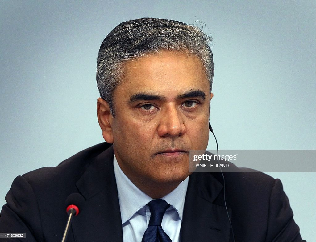 Anshu Jain, co-CEO of the Deutsche Bank addresses the media during a news conference at the company's headquarters in Frankfurt/Main, Germany, on April 27, 2015. Deutsche Bank, Germany's biggest lender, unveiled Monday details of a massive strategic shake-up as part of which it plans to bring down annual costs by 3.5 billion euros ($3.8 billion) by 2020.