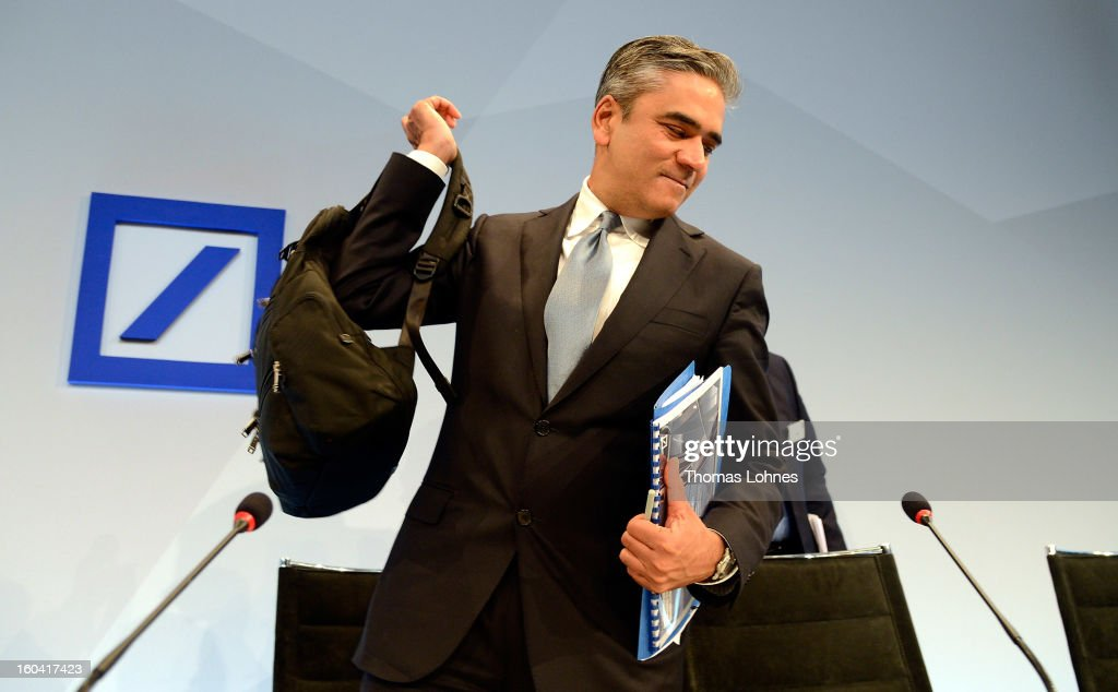Anshu Jain, Co-CEOs of Deutsche Bank, leaves the company's annual press conference to announce its financial results for 2012 on January 31, 2013 in Frankfurt, Germany. Deutsche Bank announced a fourth quarter, pre-tax loss of EUR 2.6 billion, largely due to restructuring and litigation costs.