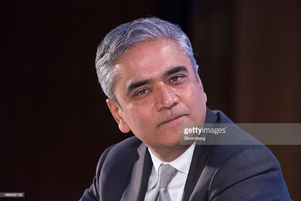 Anshu Jain, co-chief executive officer of Deutsche Bank AG, pauses during the Frankfurt Finance Summit in Frankfurt, Germany, on Tuesday, March 17, 2015. German investor confidence rose less than economists predicted in March as uncertainty over Greece's future in the euro area countered optimism over an improving economic outlook. Photographer: Martin Leissl/Bloomberg via Getty Images