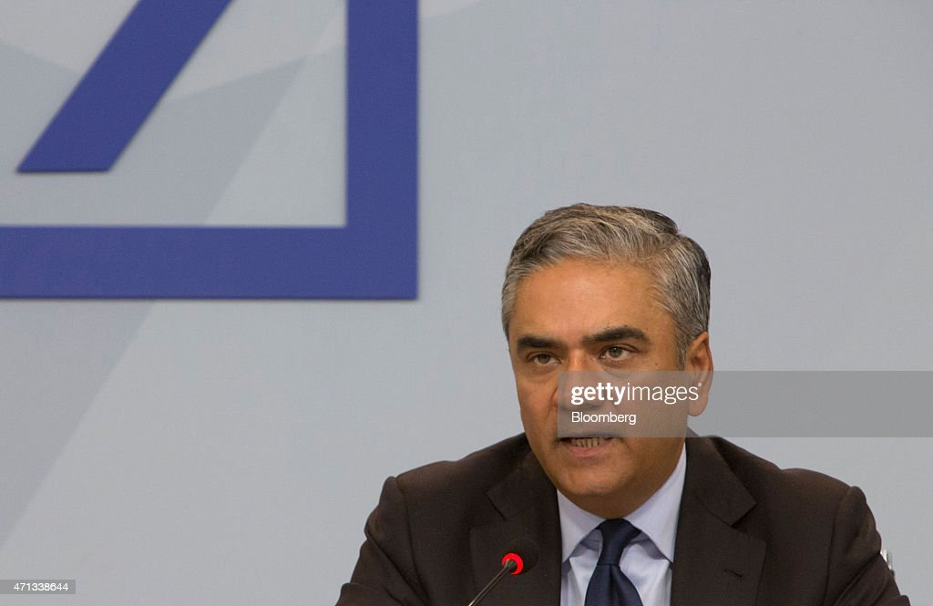 Anshu Jain, co-chief executive officer of Deutsche Bank AG, speaks during a news conference in Frankfurt, Germany, on Monday, April. 27, 2015. Deutsche Bank AG plans to reduce annual costs by a further 3.5 billion euros ($3.8 billion), cut back its ownership in the Postbank consumer unit and shrink the securities business to revive profitability. Photographer: Martin Leissl/Bloomberg via Getty Images