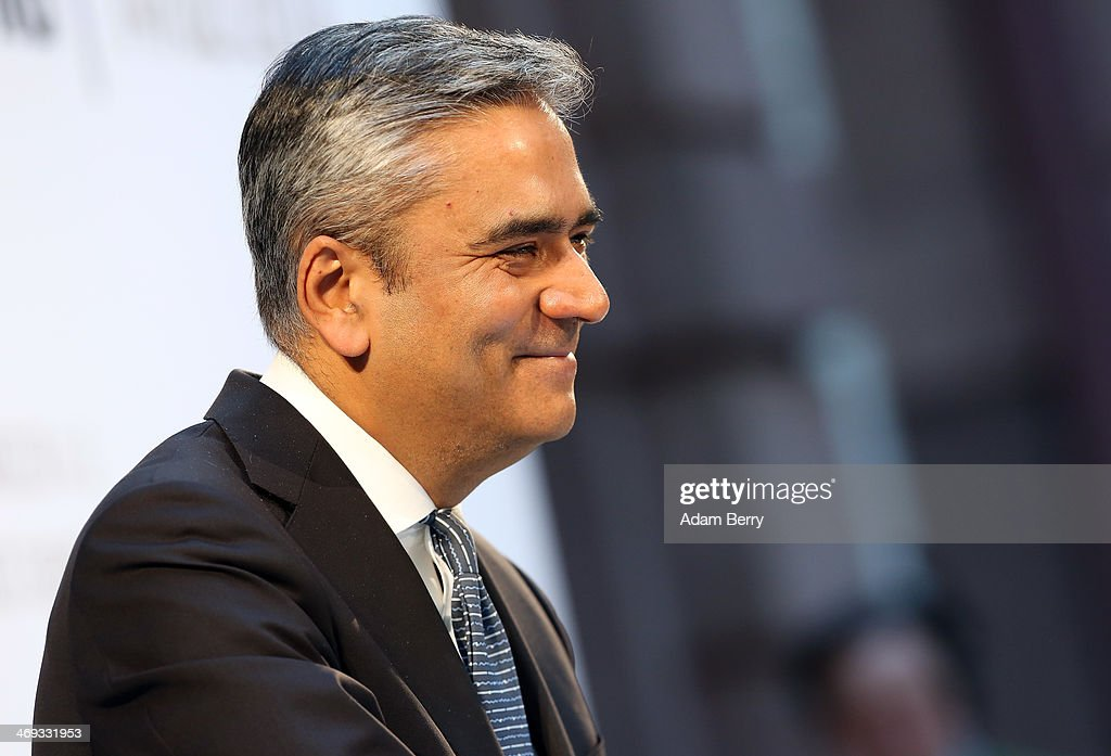 Anshu Jain, co-chief executive officer of Deutsche Bank, speaks at the presentation of the book 'Klare Woerter' ('Clear Words') by Former German federal Chancellor Gerhard Schroeder on February 14, 2014 in Berlin, Germany. Schroeder was Chancellor from 1998-2005, and in his new book he argues for better relations between Germany and Russia.