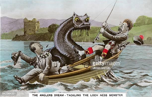 Ansichtskarte mit einer Karikatur des Loch Ness Ungeheuers 1934