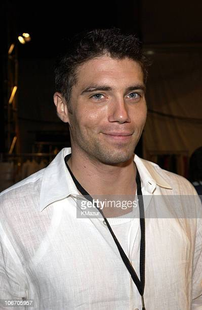 Anson Mount during MercedesBenz Fashion Week Spring Collections 2003 Tommy Hilfiger Show Backstage at Bryant Park in New York City New York United...