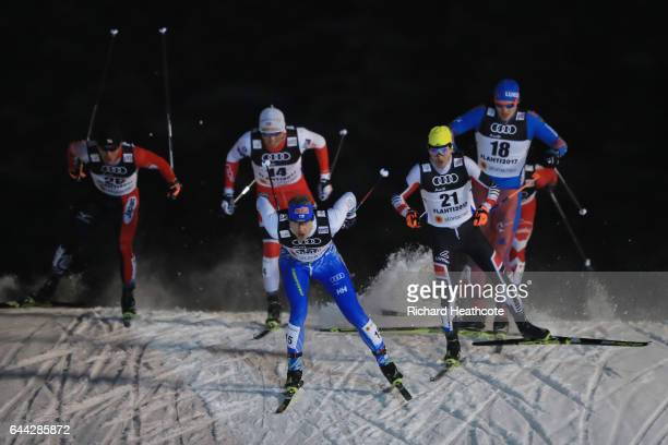Anssi Pentsinen of Finland leads the Men's 16KM Cross Country Sprint fifth quarter final during the FIS Nordic World Ski Championships on February 23...