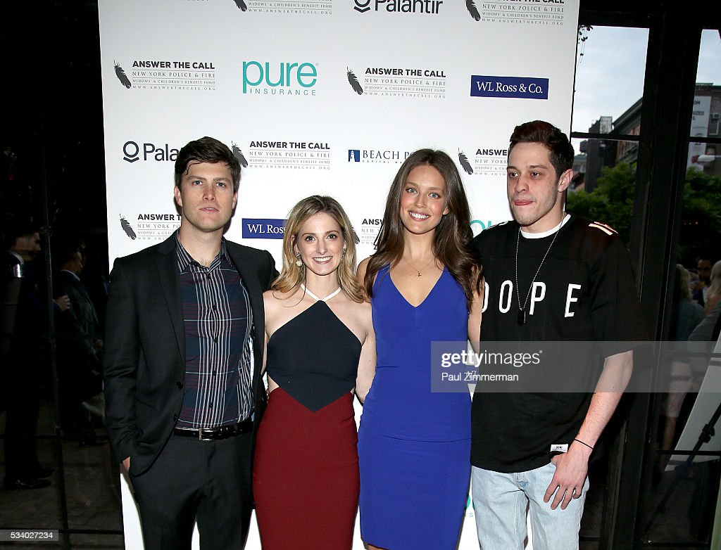 Comedian <a gi-track='captionPersonalityLinkClicked' href=/galleries/search?phrase=Colin+Jost&family=editorial&specificpeople=4809340 ng-click='$event.stopPropagation()'>Colin Jost</a>, Lauren Profeta, model <a gi-track='captionPersonalityLinkClicked' href=/galleries/search?phrase=Emily+DiDonato&family=editorial&specificpeople=6155210 ng-click='$event.stopPropagation()'>Emily DiDonato</a> and <a gi-track='captionPersonalityLinkClicked' href=/galleries/search?phrase=Pete+Davidson&family=editorial&specificpeople=8019074 ng-click='$event.stopPropagation()'>Pete Davidson</a> pose at the 4th Annual Kick Off To Summer Benefit 'The Red & Blue Soiree' at The Bowery Hotel on May 24, 2016 in New York City.