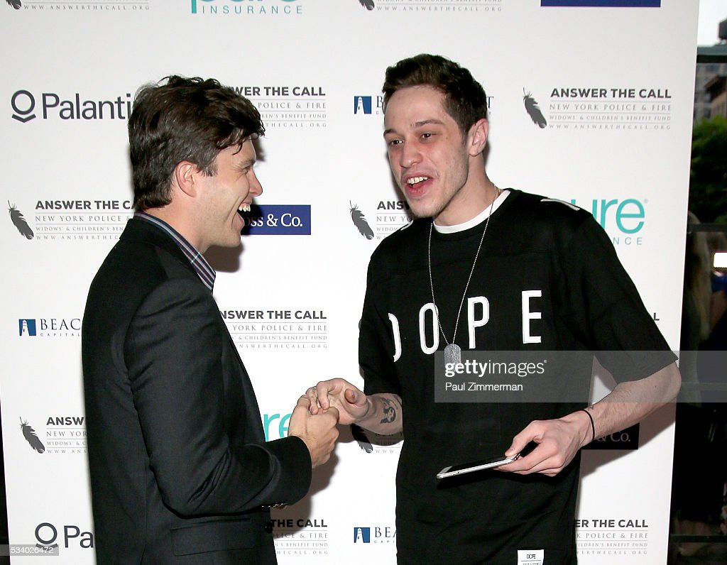 Honorary Chairs/comedians <a gi-track='captionPersonalityLinkClicked' href=/galleries/search?phrase=Colin+Jost&family=editorial&specificpeople=4809340 ng-click='$event.stopPropagation()'>Colin Jost</a> (L) and <a gi-track='captionPersonalityLinkClicked' href=/galleries/search?phrase=Pete+Davidson&family=editorial&specificpeople=8019074 ng-click='$event.stopPropagation()'>Pete Davidson</a> pose at the 4th Annual Kick Off To Summer Benefit 'The Red & Blue Soiree' at The Bowery Hotel on May 24, 2016 in New York City.