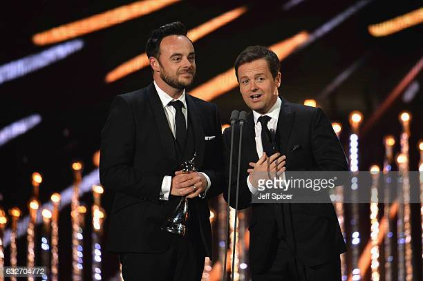 Ant and Dec accept the Best TV Presenter Award on stage during the National Television Awards at The O2 Arena on January 25 2017 in London England