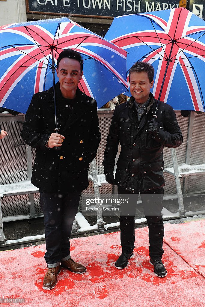 Ant and Dec arrive for the London judges auditions for 'Britain's Got Talent' at London Palladium on January 20, 2013 in London, England.