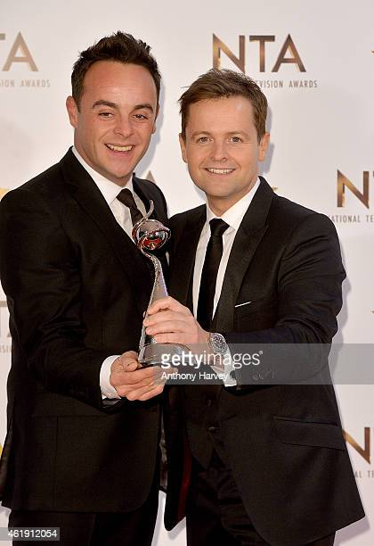 Ant and Dec pose in the winners room with their awards for Best Entertainment Presenters at the National Television Awards at 02 Arena on January 21...