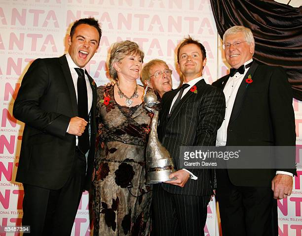 Ant and Dec pose with Valerie Singleton John Noakes and Peter Purves in the press room at the National Television Awards at the Royal Albert Hall on...