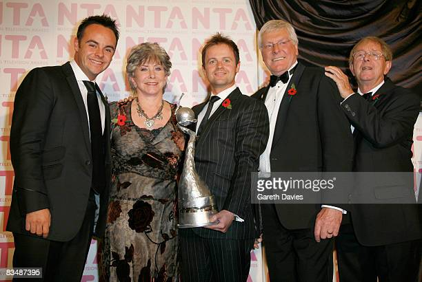 Ant and Dec pose with Valerie Singleton John Noakes and Peter Purves as seen in the press room at the National Television Awards at the Royal Albert...