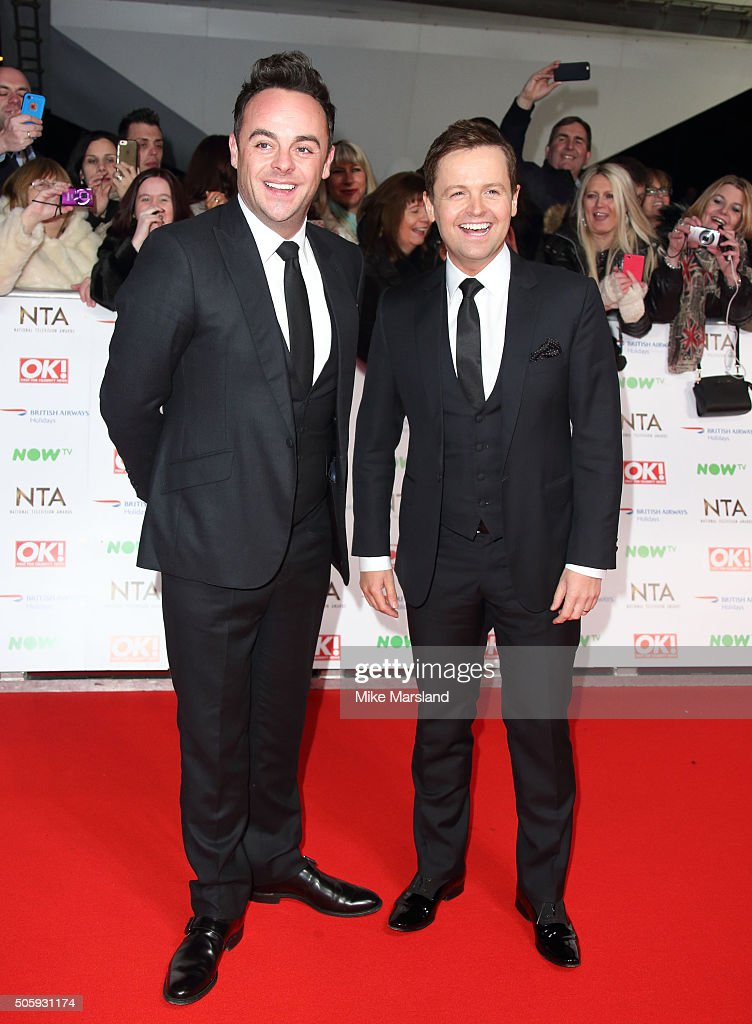 <a gi-track='captionPersonalityLinkClicked' href=/galleries/search?phrase=Ant+McPartlin&family=editorial&specificpeople=212754 ng-click='$event.stopPropagation()'>Ant McPartlin</a> and <a gi-track='captionPersonalityLinkClicked' href=/galleries/search?phrase=Declan+Donnelly&family=editorial&specificpeople=206200 ng-click='$event.stopPropagation()'>Declan Donnelly</a> attend the 21st National Television Awards at The O2 Arena on January 20, 2016 in London, England.