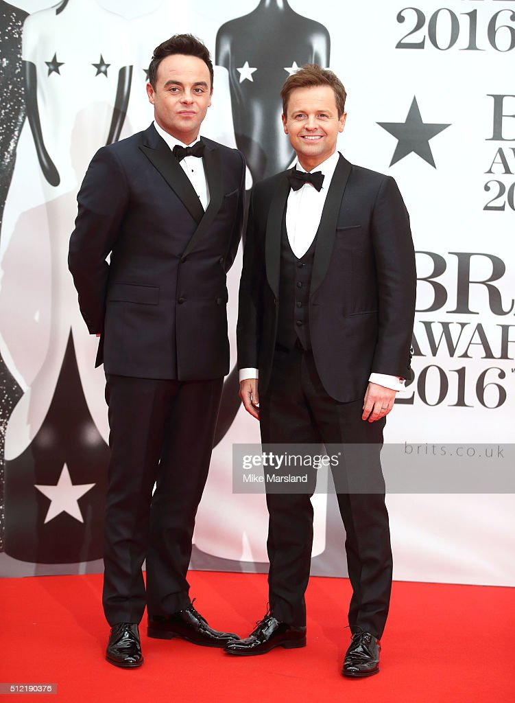 Ant McPartlin and Declan Donnelly attend the BRIT Awards 2016 at The O2 Arena on February 24, 2016 in London, England.