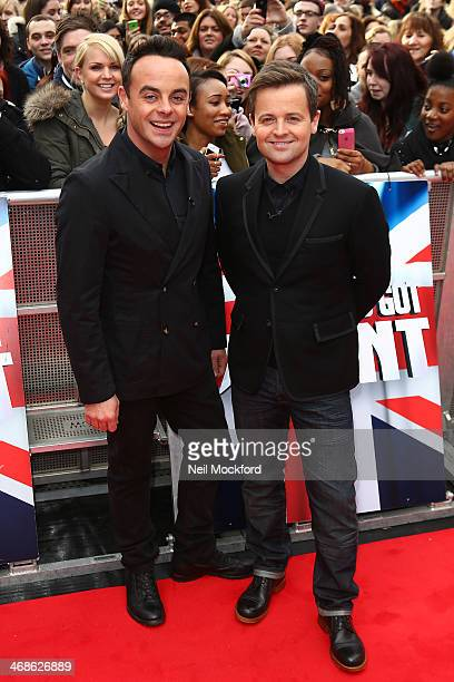Ant McPartlin and Declan Donnelly attend the London Auditions of Britain's Got Talent at Hammersmith Apollo on February 11 2014 in London England