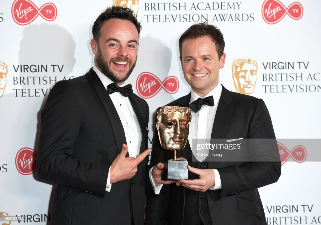 Ant McPartlin and Declan Donnelly with the Live Event award for The Queens 90th Birthday Celebration, in the Winner's room at the Virgin TV BAFTA Television Awards at The Royal Festival Hall on May 14, 2017 in London, England.