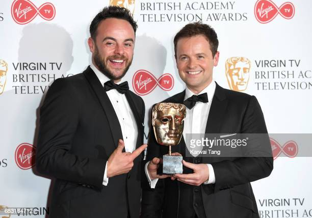 Ant McPartlin and Declan Donnelly with the Live Event award for The Queens 90th Birthday Celebration in the Winner's room at the Virgin TV BAFTA...