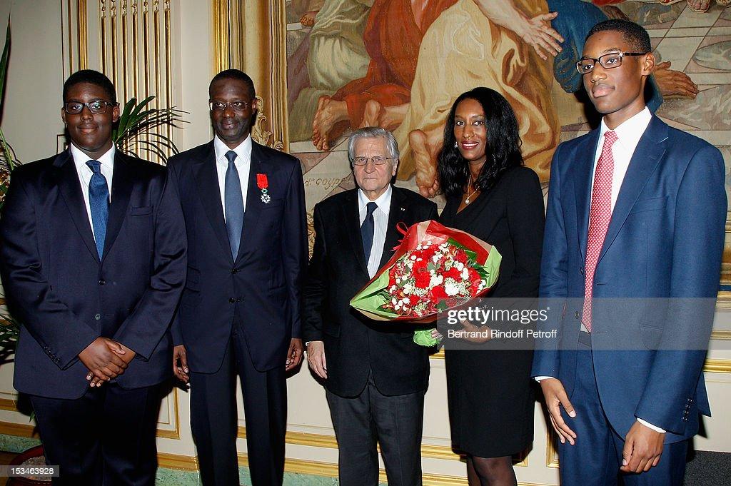 Anta Thiam, Tidjane Thiam, Jean Claude Trichet, Anette Thiam and Bilal Thiam at Cercle Interallie on October 5, 2012 in Paris, France.