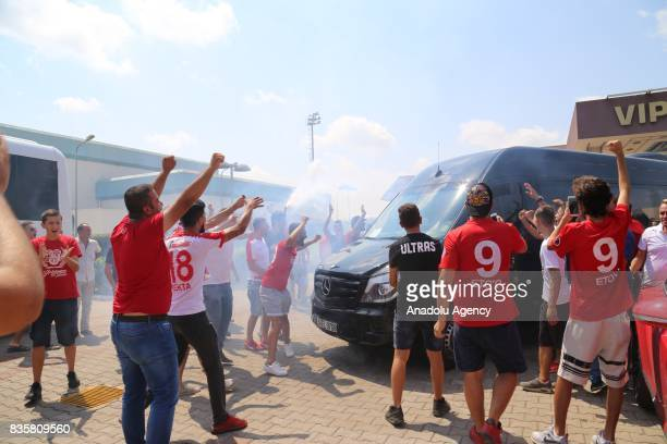 Antalyaspor's new transfer Samir Nasri is welcomed by team fans as he arrives in Antalya Turkey on August 20 2017